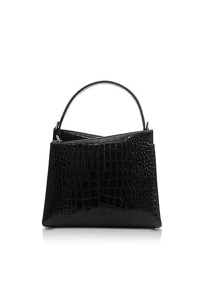 Croco Embossed Leather Vela Mini Top Handle Bag - Lara Bellini