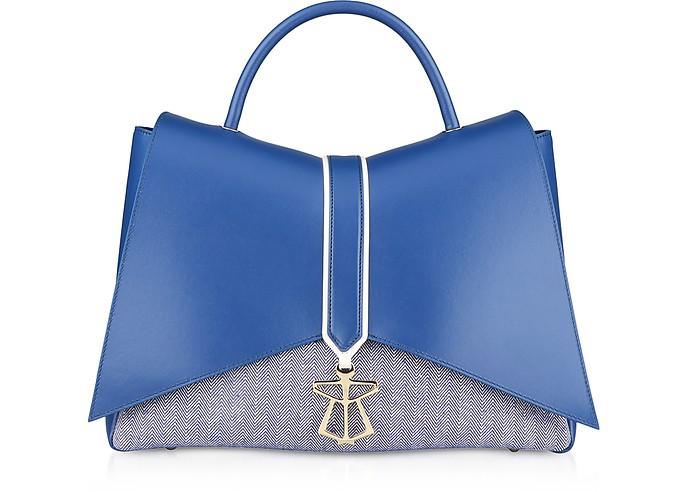 Blue Canvas Kiki Top Handle Satchel Bag - Lara Bellini