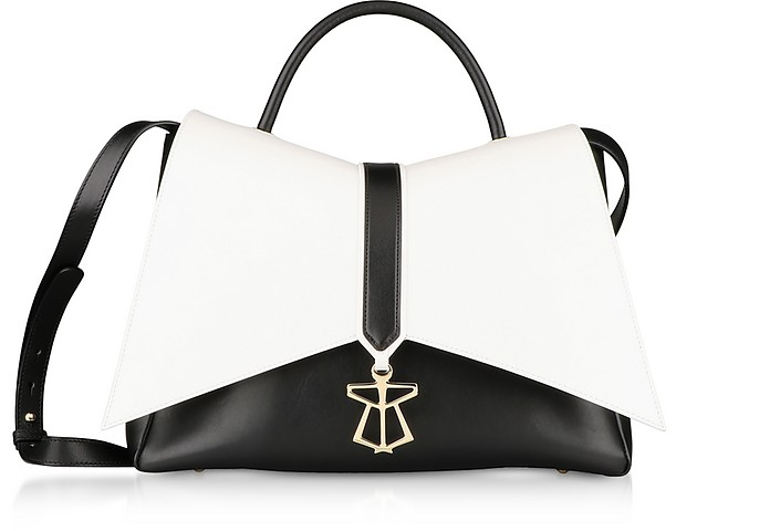 Black&White Leather Kiki Top Handle Satchel Bag - Lara Bellini