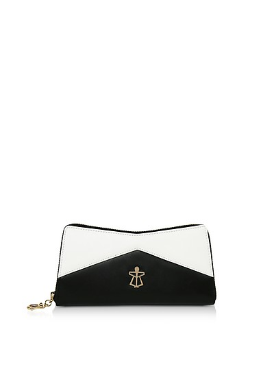 Black & White Leather Lara Wallet - Lara Bellini