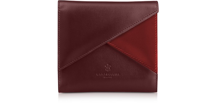 Two Tone Leather Squared Vela Wallet - Lara Bellini