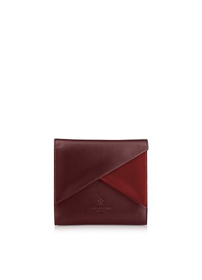 Two Tone Leather Squared Vela Wallet - Lara Bellini