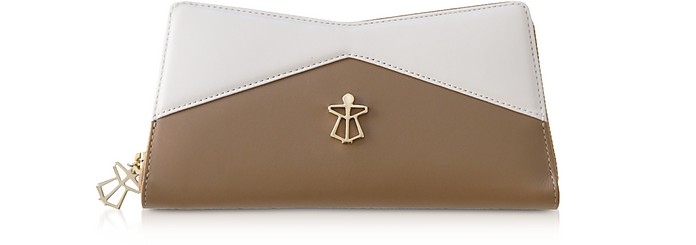 Beige and White Leather Vela Women's Continental Wallet - Lara Bellini