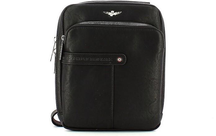 Black Crossbody Bag w/Front Zip Pocket - Aeronautica Militare