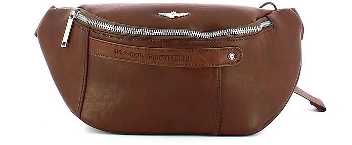 Brown Signature Men's Belt Bag - Aeronautica Militare