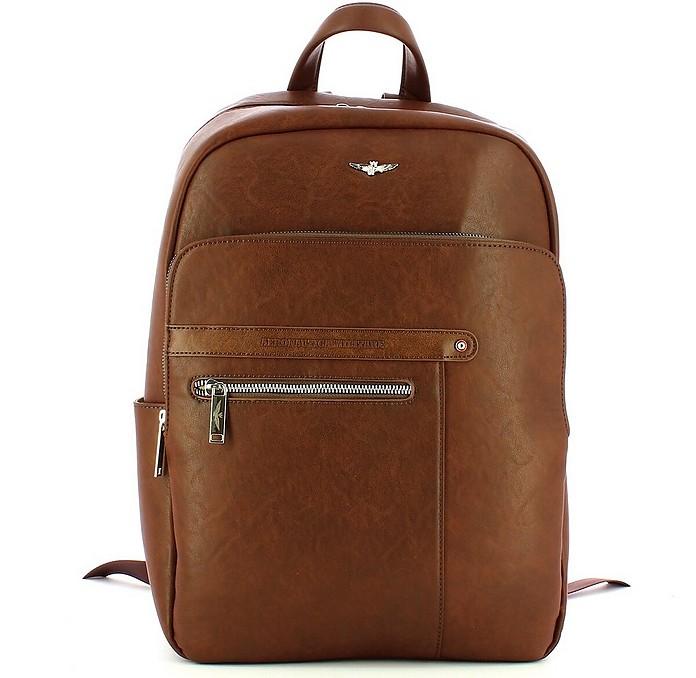 Men's Brown Backpack - Aeronautica Militare