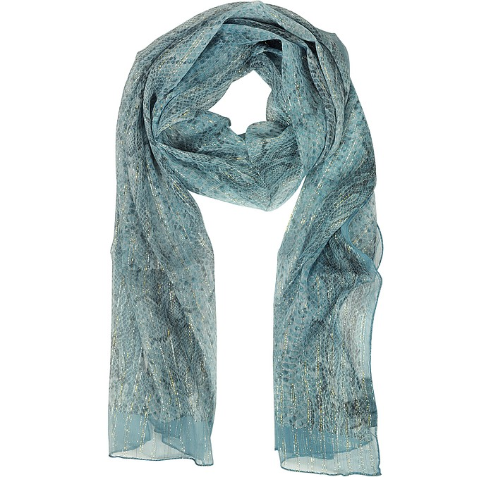 Animal Print Silk and Lurex Stole - Francesco Biasia