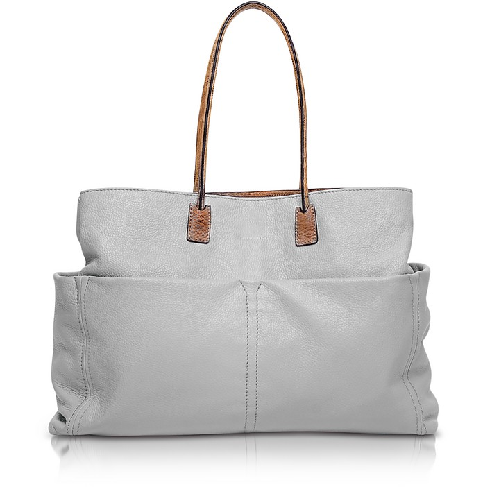 Concorde Large Gray Leather Tote - Francesco Biasia