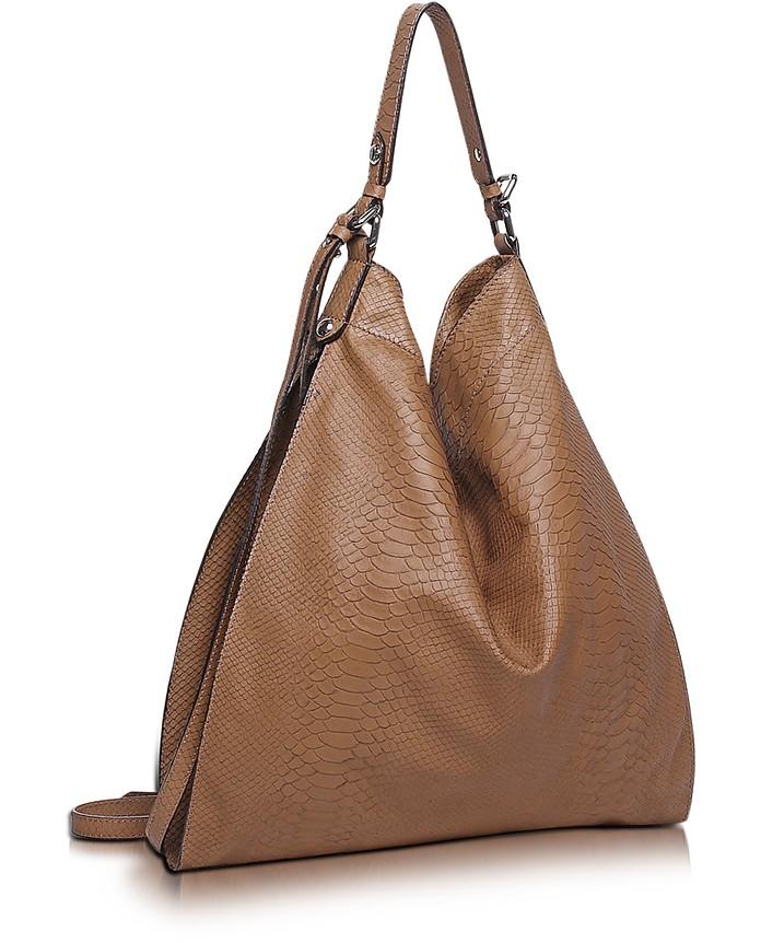 Madeleine Brown Embossed Leather Tote - Francesco Biasia