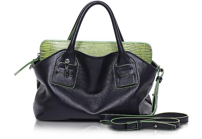 Vendome Medium Black and Green Leather Tote - Francesco Biasia