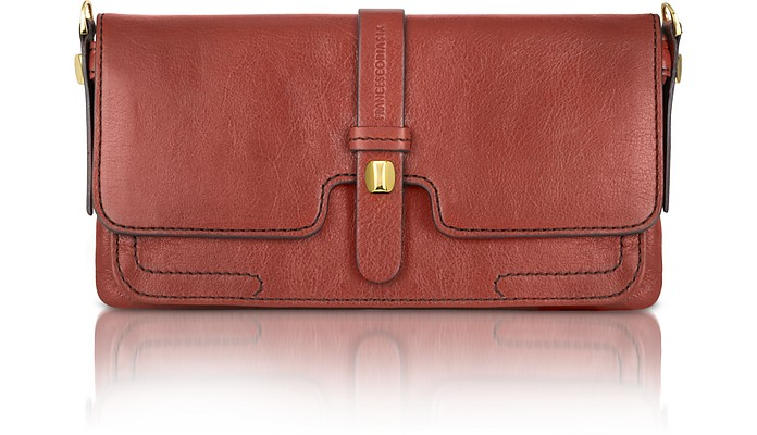 Denise - Leather Flap Clutch Purse with Shoulder Strap - Francesco Biasia