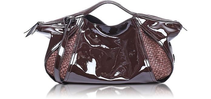 198f3cafd3722 Copacabana Handtasche aus Lack-und gewobenem Leder - Francesco Biasia