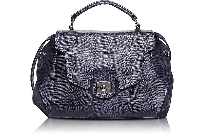 Phuket Large Embossed Leather Satchel Bag w/Shoulder Strap - Francesco Biasia
