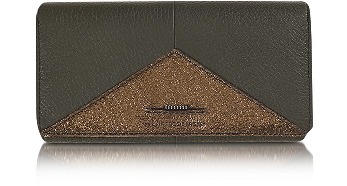 Electrical Two Tone Leather Flap Wallet - Francesco Biasia