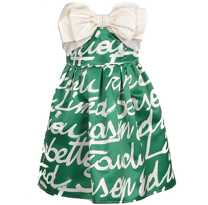 Green Signature Mini Dress w/White Bow - Elisabetta Franchi