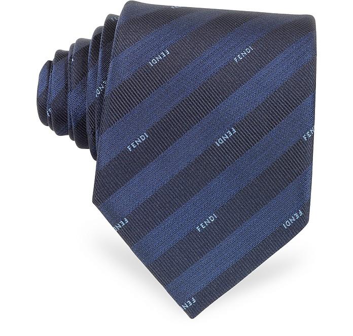 Gradient Blue Pequin Stripe Signature Silk Tie - Fendi