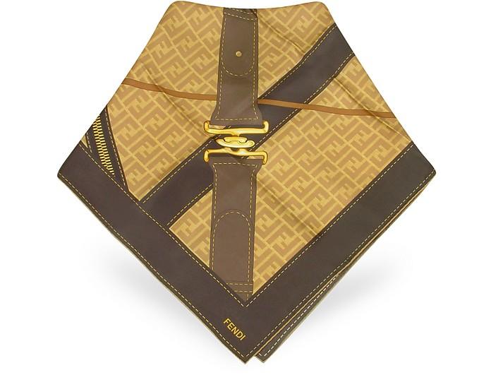 fe08190e99 Dark Brown Bag de Jour Printed Twill Silk Square Scarf