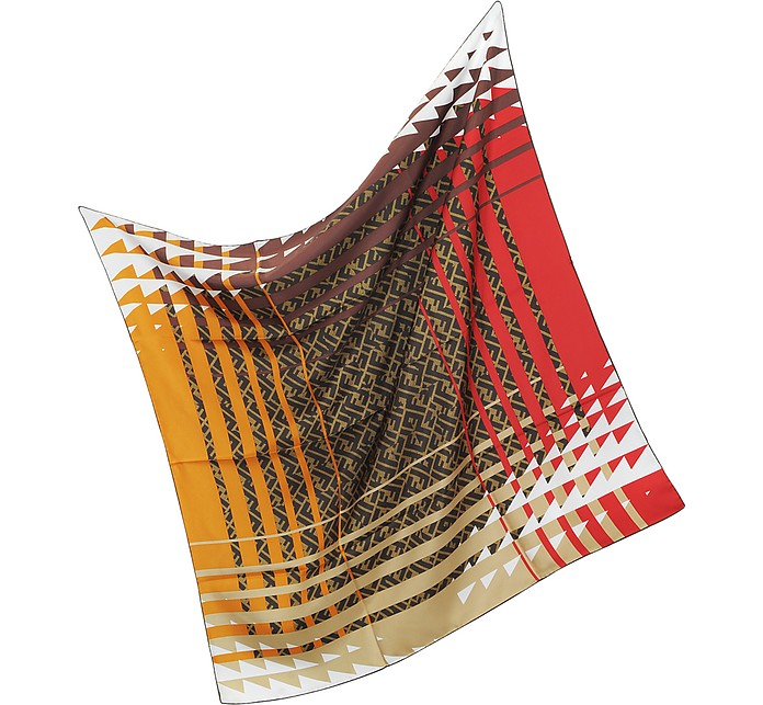 Zucca Pop Twill Silk Square Scarf - Fendi
