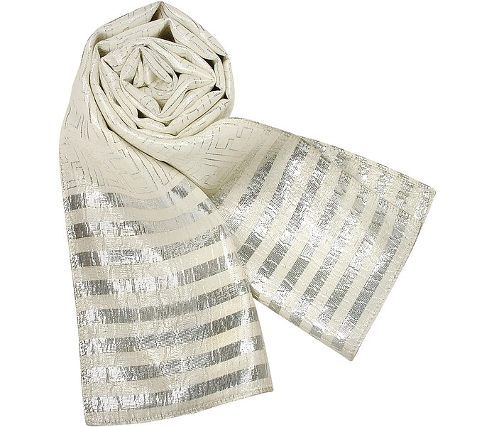Shimmering Silver and Cream Logoed Silk Long Scarf - Fendi