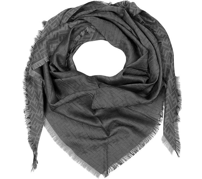 All-Over Zucca Logo Wool/Silk Triangle Scarf - Fendi