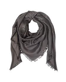 Oversize Dark Brown Zucca Logo Silk and Wool Wrap