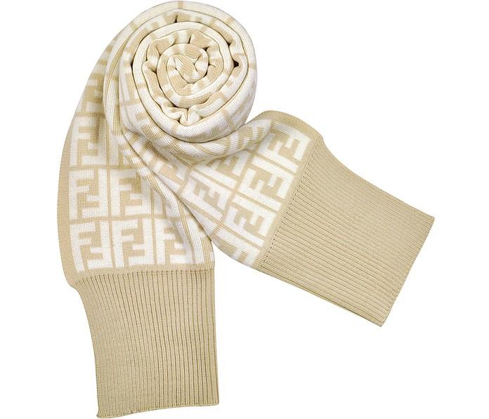 Logo Zucca Knit Wool Scarf - Fendi