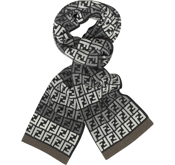 All Over Zucca Logo Jacquard Knit Wool Scarf - Fendi