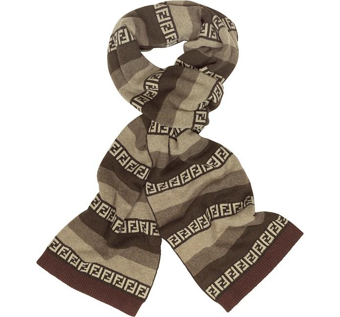 Striped Zucca Logo Jacquard Knit Wool Scarf - Fendi
