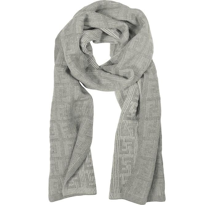Gray Logo Jacquard Knit Wool Scarf - Fendi