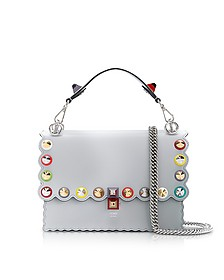 Kan I Studs Pearl Gray Leather Shoulder Bag - Fendi