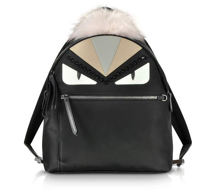 Black and Peonia Bugs Eyes Nylon and Fur Backpack - Fendi