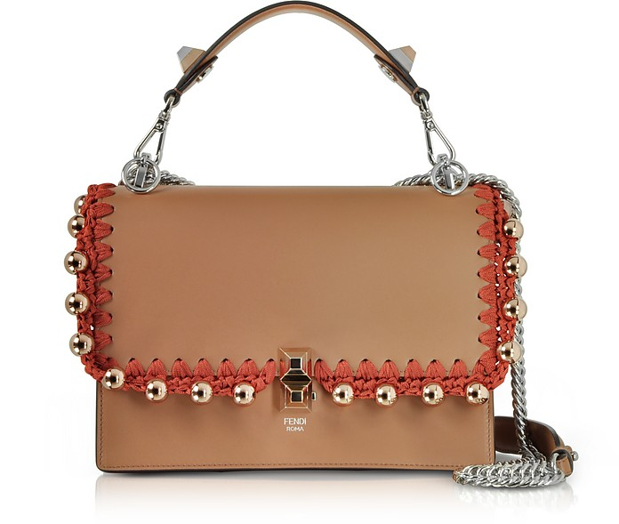 Kan I M Cuoio Leather Top Handle Shoulder Bag w/Rose Goltone Pearls - Fendi