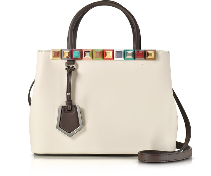 f078679af231 Fendi Petite 2Jours Camellia Leather Tote Bag w Rainbow Studs at ...