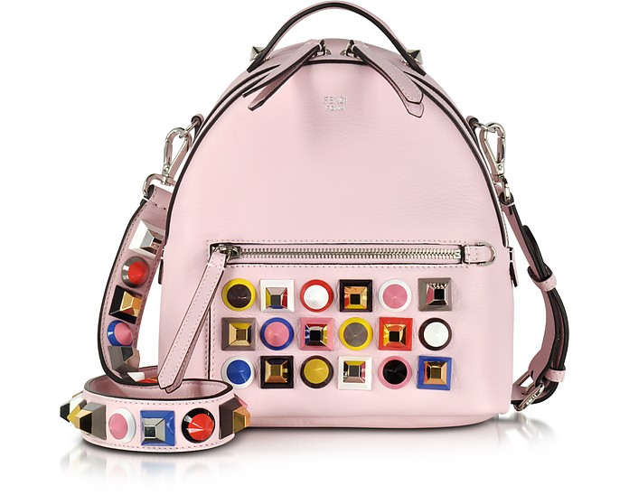 1b0ac62df9 Fendi Pink Leather Small Backpack w/Rainbow Studs at FORZIERI UK