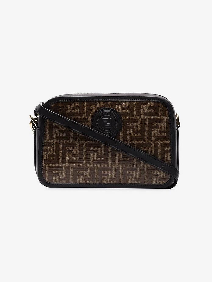 Brown and black FF camera leather cross body bag - Fendi