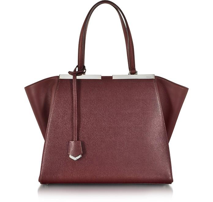 Large Bordeaux 3Jours Calfskin Shopping Bag w/Palladium Metalware - Fendi