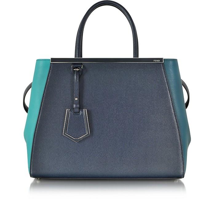Blue and Green 2Jours Calfskin Shopping Bag w/Detachable Shoulder Strap - Fendi