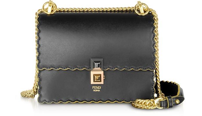 be552b38d080 Fendi Kan I Small Black Leather Shoulder Bag