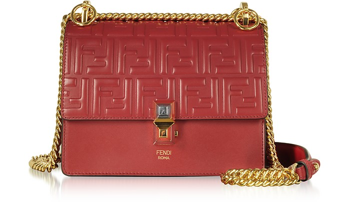 93dc8b5834ee Fendi Strawberry Red FF Printed Leather Kan I Small Shoulder Bag at ...