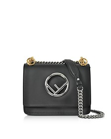 Kan I F Small Black Leather Shoulder Bag - Fendi