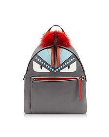 Steel Gray Fabric and Red Fur Backpack w/Studs - Fendi