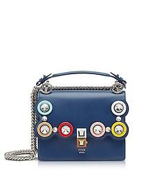 Kan I Small Blue Leather Crossbody Bag w/Macro-Crystals - Fendi