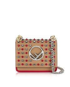 Kan I F Small Sand and Red Leather Crossbody Bag w/Studs - Fendi