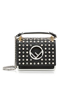 Kan I F Small Black and Ice White Leather Crossbody Bag w/Studs - Fendi