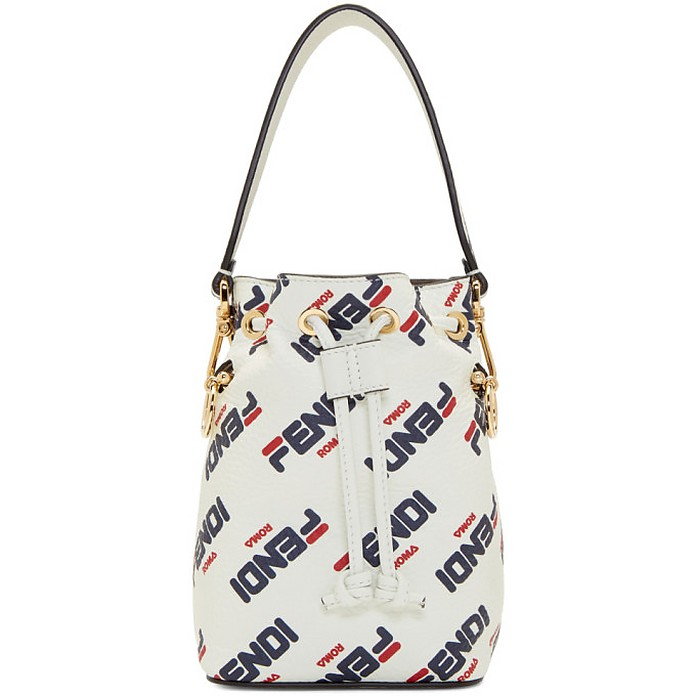 White Fendi Mania Mini Mon Tresor Bucket Bag - Fendi