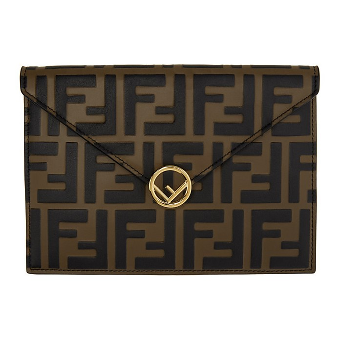 Brown and Black Forever Fendi Envelope Pouch - Fendi