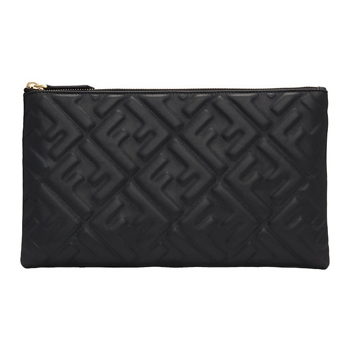 Black Forever Fendi Embossed Pouch - Fendi