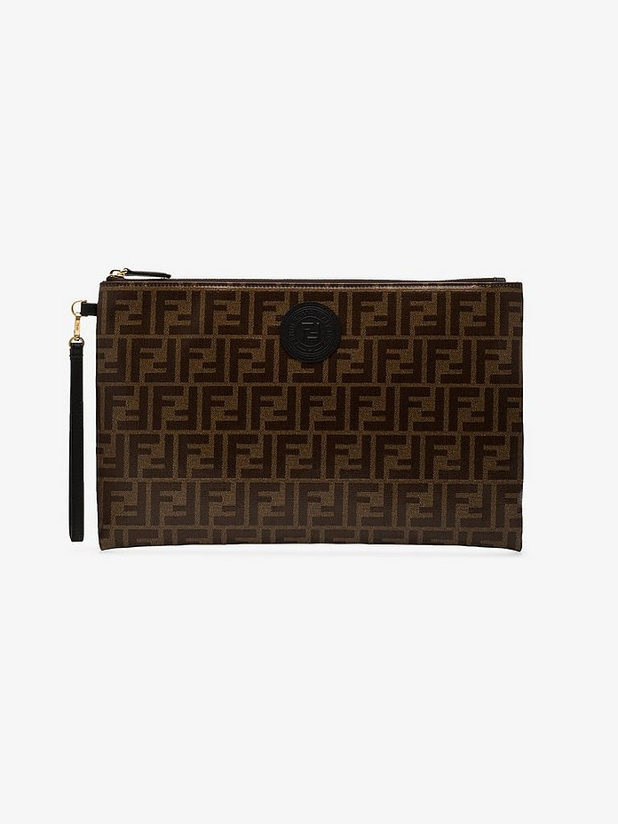 Brown large FF coated leather pouch - Fendi