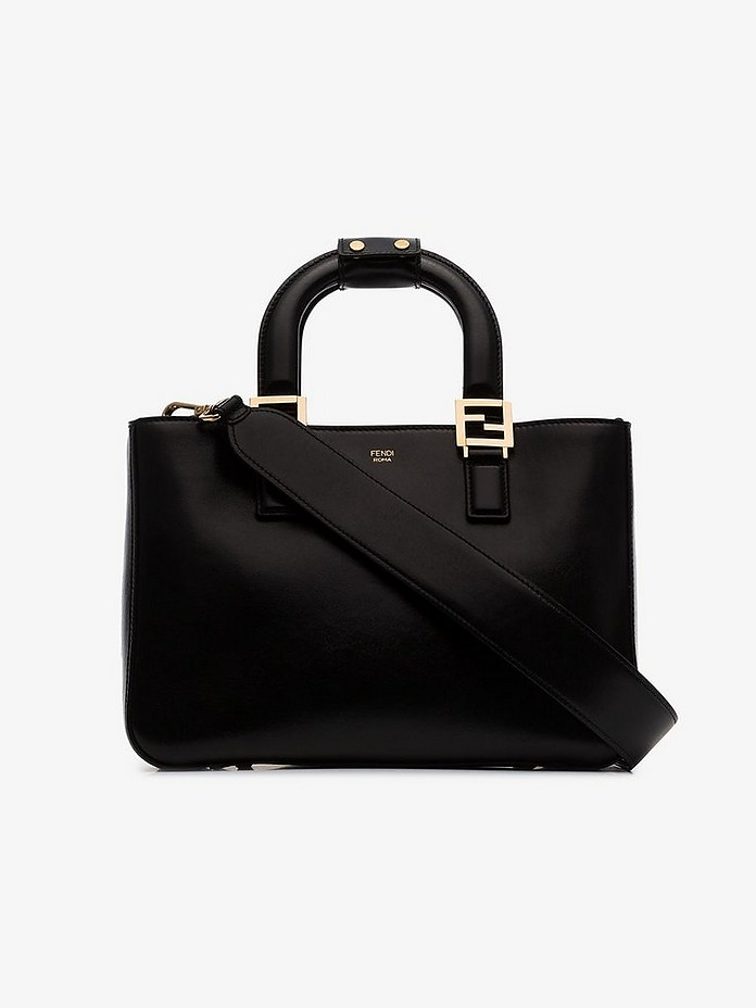 Black FF small leather tote bag - Fendi