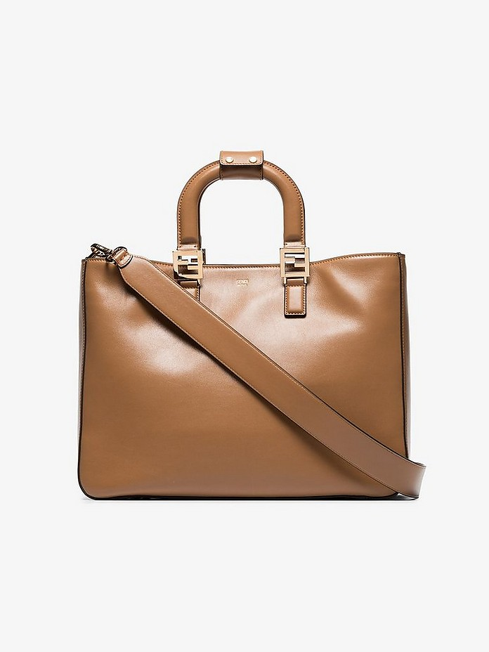 Brown Twins medium leather tote bag - Fendi